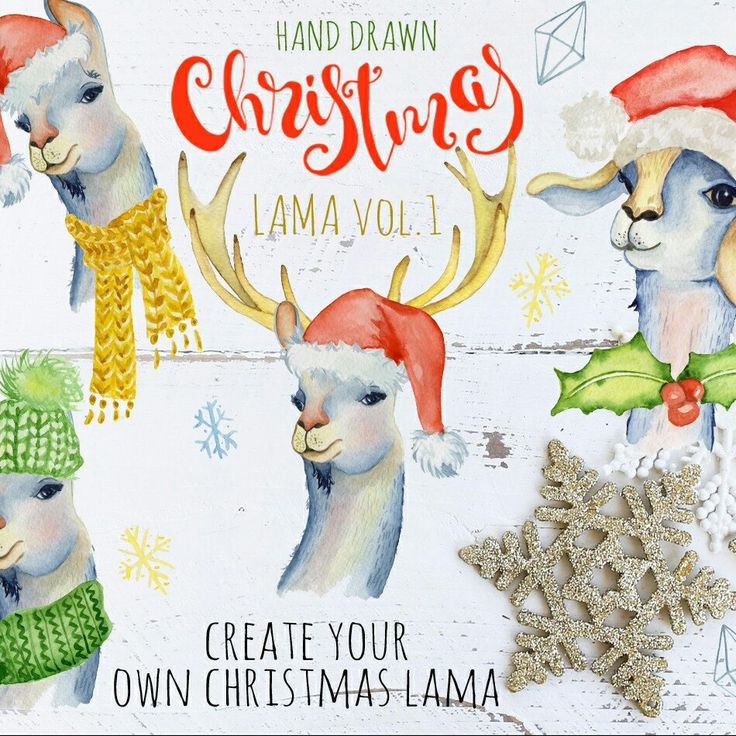 Christmas lama watercolor clipart. Create your oen lama! #christmas #lama #watercolor #clipart