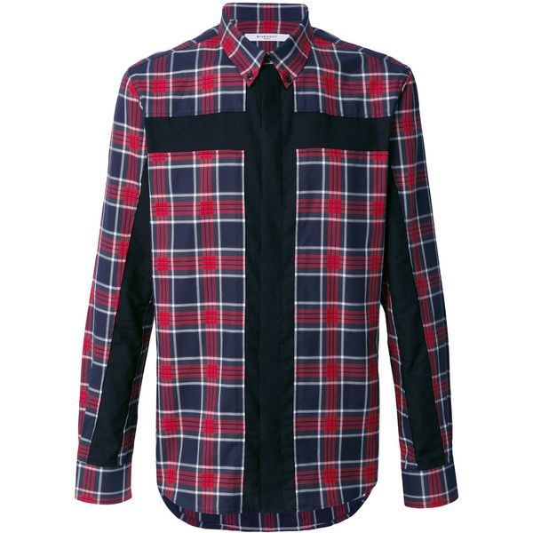 Givenchy crucifix panel checked shirt ($685) ❤ liked on Polyvore featuring men's fashion, men's clothing, men's shirts, men's casual shirts, red, mens red shirt, mens checked shirts, mens red checked shirt and mens long sleeve shirts