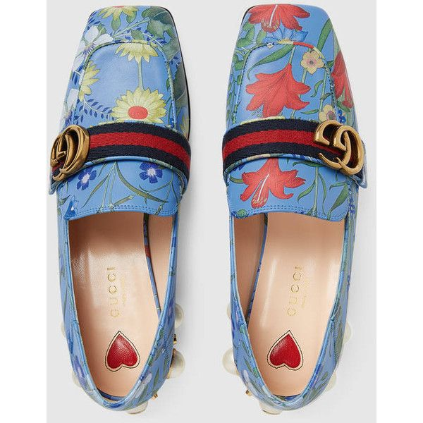 Gucci New Flora Print Leather Mid-Heel Loafer (61.560 RUB) ❤ liked on Polyvore featuring shoes, loafers, red leather shoes, blue loafers, red studded loafers, red loafers and leather shoes