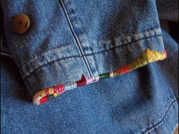 Creative embroidery idea to hide frayed cuffs or pant legs