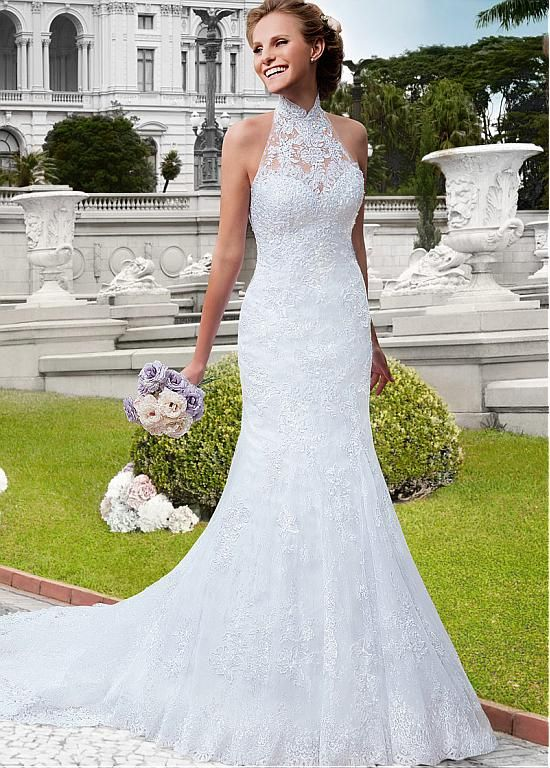 Alluring Tulle High Collar Neckline Mermaid Wedding Dresses with Beaded Lace Appliques