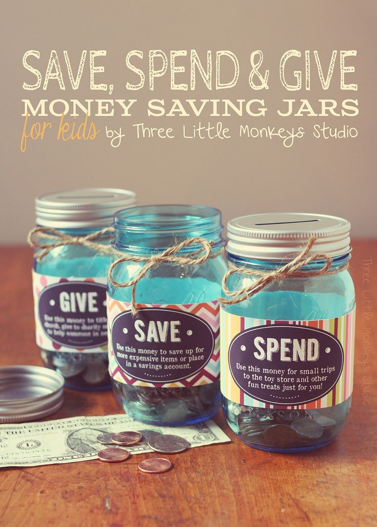 Save Spend and Give Jars by Three Little Monkeys Studio...Free printable!