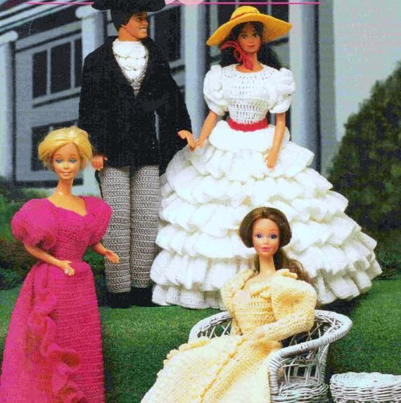 Fashion Doll Folk Costumes Annie/'s Attic Crochet Pattern Book #879203-7 Designs