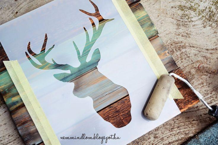 deer stencil on recycle wood / szarvas kép http://decorlabor.hu/osszes%20minta/nagy_szarvas_szett_345