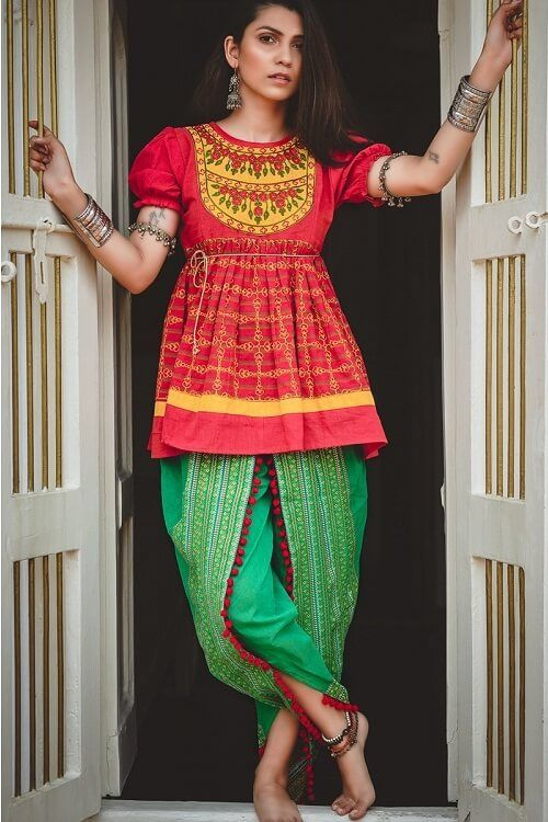 58ef681a29ab41 Red And Green Printed Navratri Special Dhoti-Kurta #green #red #prints  #dhotipants #indowestern
