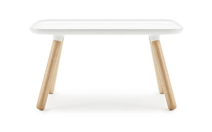 Normann Copenhagen - Tablo Table   Material: Table top: Plastic composite Legs: Ash wood Size & weight: Height: 42 cm Length: 78 cm Width: 45 cm Weight: 10,7 kg  390€