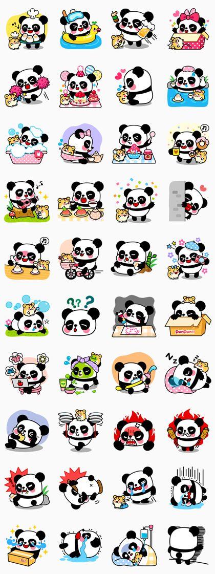 Amigos inseparables dispuestos a jugar juntos. Si te gustan los pandas, estos stickers son para ti, Disfruta con ellos de esos momentos especiales.