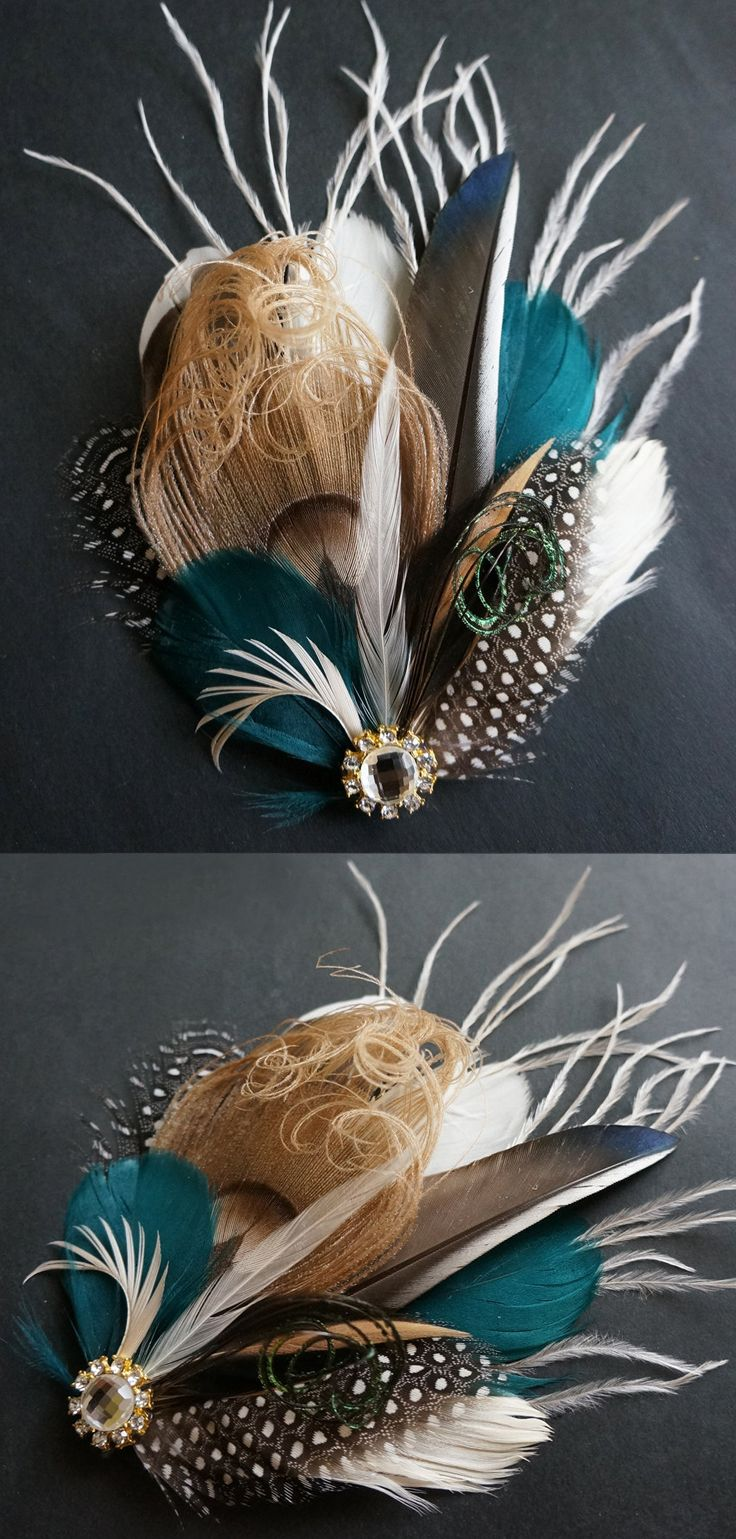 Hair accessories launceston - This Bridal Clip Hair Piece Has Been Created With Neutral Colors Shades Of White Ivory Taupe With Teal A Gold Rhinestone Embellishment At Centre
