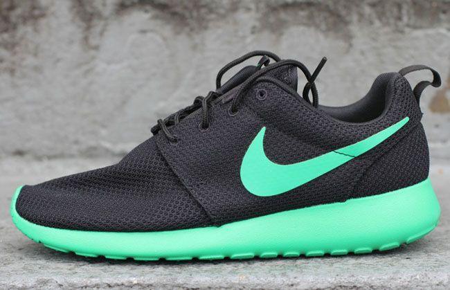 Black and turquoise nike Roshe Run sneakers