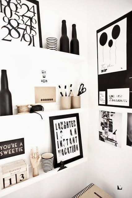 Home decorating ideas: black and white design inspiration #homedecor #blackandwhitedecor #officedecor