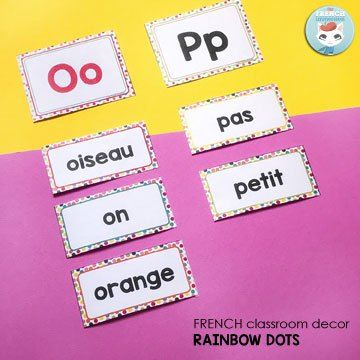 French Classroom Decor Rainbow Dots: Word Wall. Includes more than 200 ready-to-print word cards AND an editable file so you add the words you need to teach!