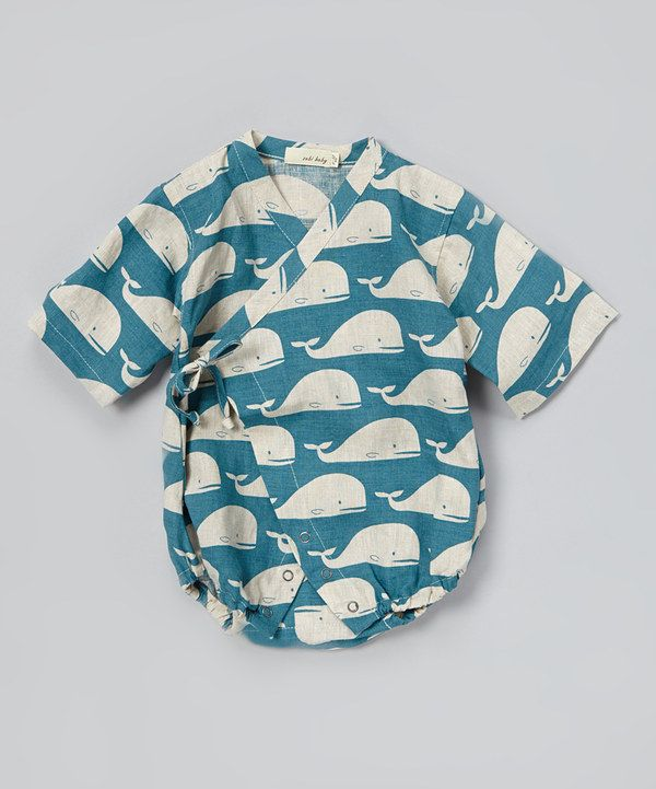 This zebi Blue Whale Linen Wrap Bodysuit - Infant by zebi is perfect! #zulilyfinds