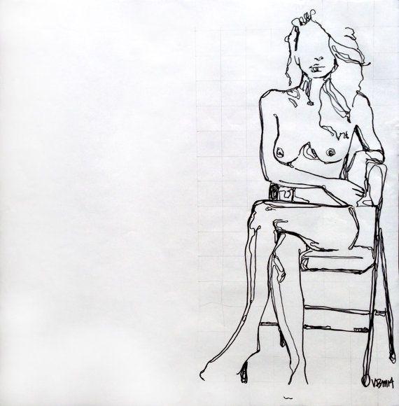 Original Marker Drawing nude woman sitting in chair by ArtbyVBM #sharpie #art