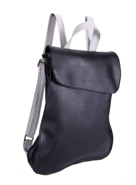 Black & silver Faux leather Backpack, Handmade backpack, Laptop bag, School Bag, Bike Bag, Women Backpack, Men Backpack, ready to ship. $99.00, via Etsy.