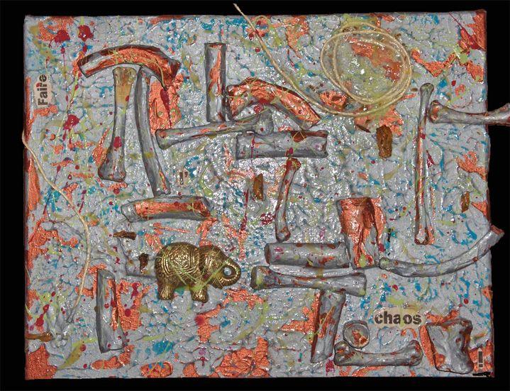 """Faire l'chaos 2007 12"""" x 8"""" Acrylique, os, colle, corde, découpures, médium phosphorescent et éléphant métallique sur toile Acrylic, bones, glue, rope, clippings, glow-in-the-dark medium and metallic elephant on canvas"""