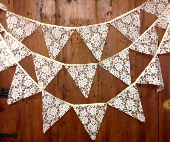 Traditional Lace Wedding Bunting Flag to Flag Style by Dollyblue11, £24.00