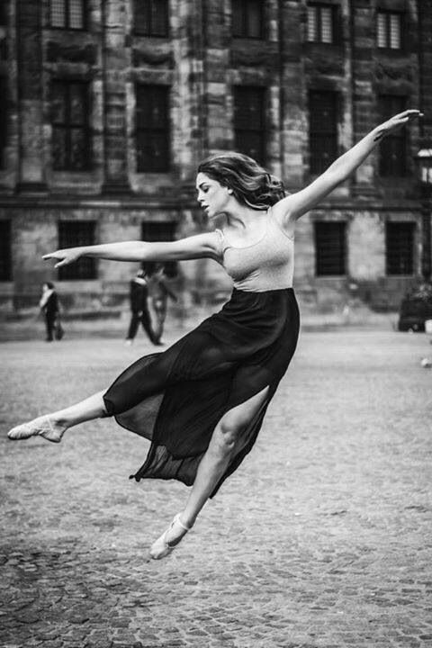 Dancing in the street, ballet, dancer, ballerina, building, gracious, female, woman, beauty, ynde, photograph, photo b/w.