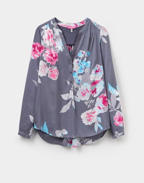 Joules Rosamund Women Pop Over Blouse Grey Beau Bloom