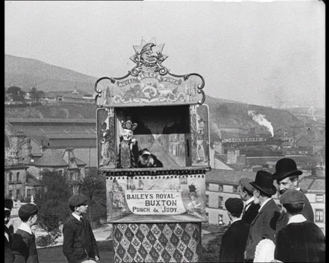 Silent film made by Mitchell and Kenyon in Buxton, Derbyshire, in 1901, showing Professor Henry Bailey's Punch & Judy show (with permission from the BFI).