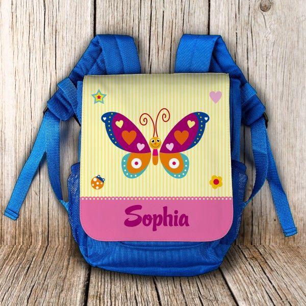Kindergartenrucksack mit Namen und Schmetterling als Motiv | geschenke-online.de