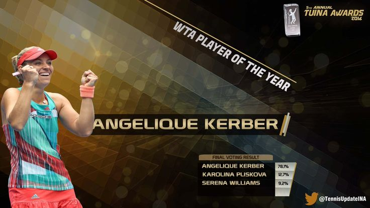 Tennis Update INA · Dec 18:     Angelique Kerber  has been voted as WTA Player Of The Year at the #TUINAAwards2016. Congratulations!