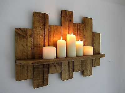 62CM RECLAIMED PALLET WOOD SHELF RUSTIC SHABBY CHIC SHELF ANTIQUE BROWN BEESWAX …