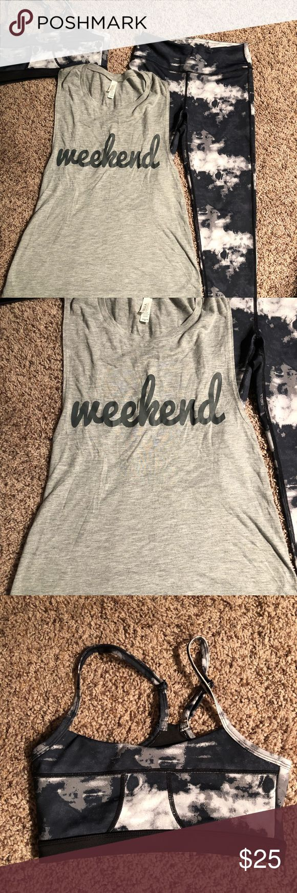 """""""Weekend"""" Women's Workout Set Includes white and navy """"cloud"""" looking pattern sports bra and pants with matching gray tank top that says """"weekend"""" on front. Size is actually small but fits like an x-small. Like new. Other"""