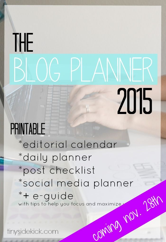 The Blog Planner 2015- A printable blog planner complete with editorial calendar, daily planner, social media planner, link log, and more.  Plus an e-guide with tips on maximizing your time.