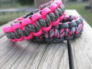 Pink Camouflage and Grey Cobra Knot Survival Bracelet with Buckle. $8.00, via Etsy.