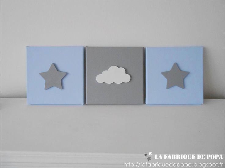 Triptyque 20x20 Etoile et Nuage bleu layette gris et blanc décoration chambre enfant bébé garcon