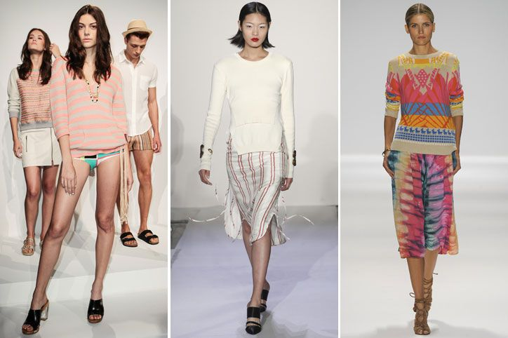 Sweater Dressing  Along with the not-going-anywhere crop top, spring knits make for next season's staple separate. Whether it's boldly printed or inventively cut, the seasonal sweater is an easy-chic piece to pair with tailored pants, flirty skirts, and blousy shorts—or to just throw on over a light dress.------Shown: Trina Turk, Altuzarra, Mara Hoffman