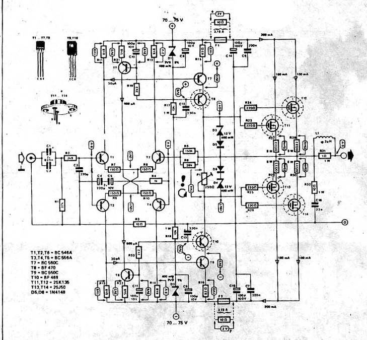 Идея схема усилителя MOSFET высокой мощности