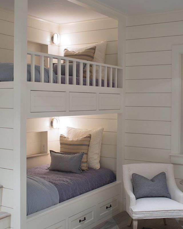 Coastal bunk beds. All white with pastels.