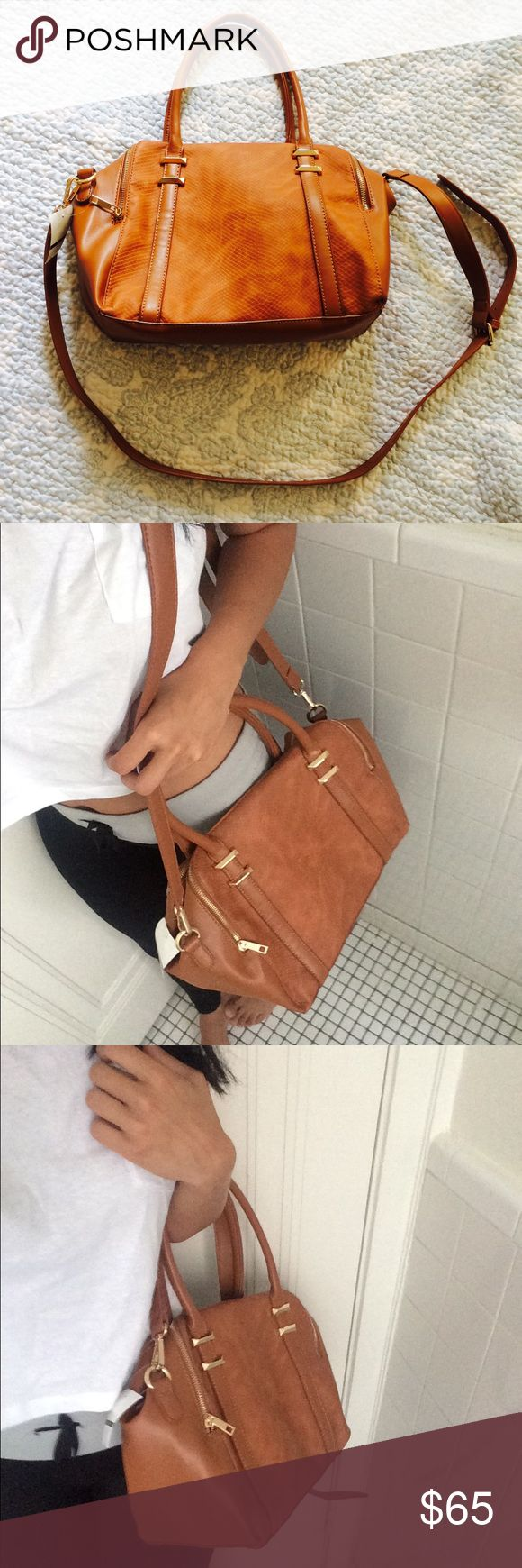 VEGAN LEATHER CAMEL BAG New bag perfect condition!  NO TRADES WELCOME! Vogue Italia Bags