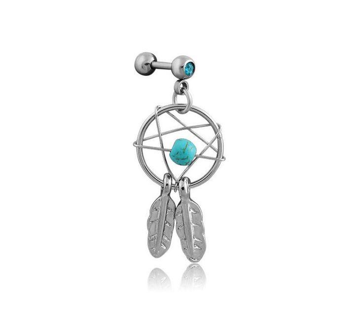 2pcs/lot Dream Catcher Star Helix Tragus Cuff Ear Piercing Cartilage Stud Earring tragus body jewelry piercing earring