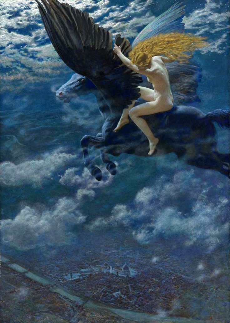 """Dream Idyll. A Valkyrie"" by Edward Robert Hughes"