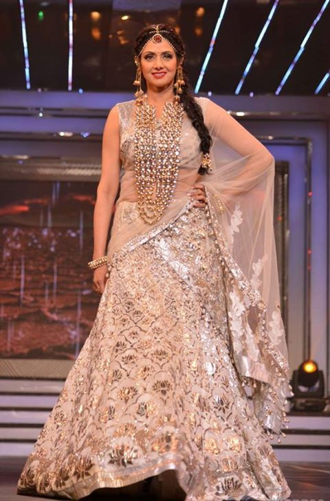How many likes for #Sridevi in heavy #jewellery at a recent #fashion show. http://www.jpearls.com