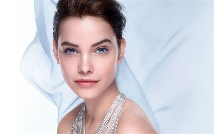 Download wallpapers Barbara Palvin, Hungarian top model, portrait, white dress, beautiful woman