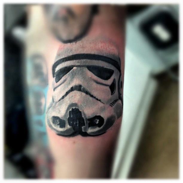 Stormtrooper helmet tattoo. Part of a Star Wars full sleeve. Done By Louis McKee, Set Sail Tattoo Studio, Irvine.Tattoo Studio
