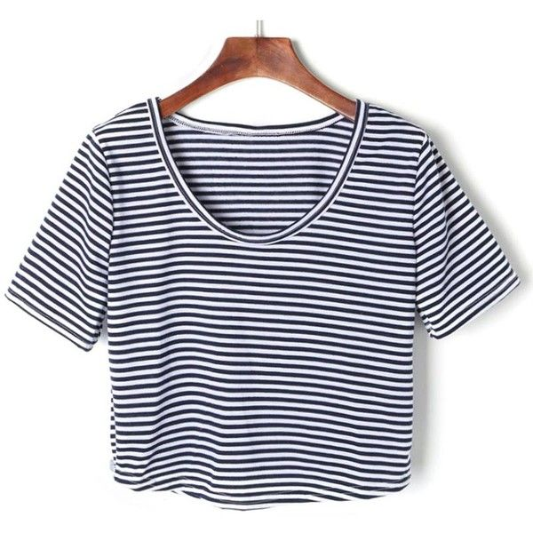 Blue And White Striped Short Sleeve Crop T-shirt ($22) ❤ liked on Polyvore featuring tops, t-shirts, crop top, cotton tee, blue and white striped t shirt, stripe crop top and stripe tee