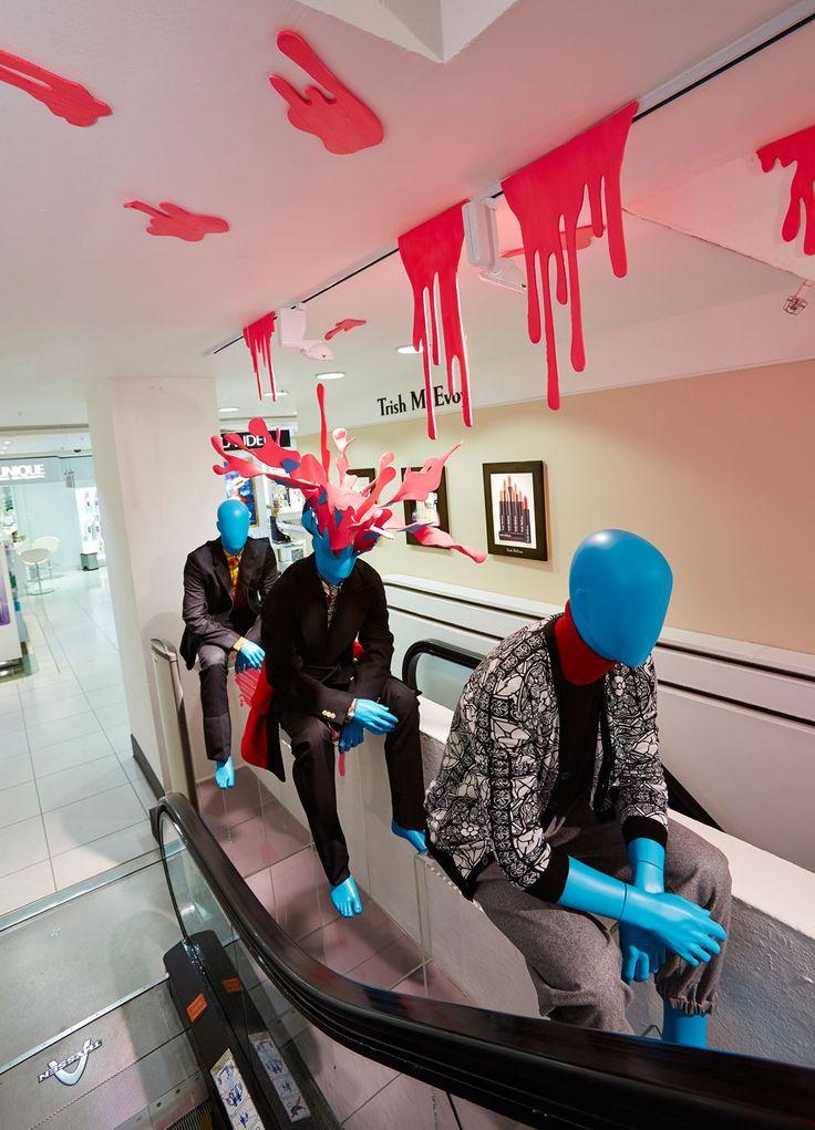 Harvey Nichols exploding heads - escalator installation - September 2013 - photo Melvyn Vincent