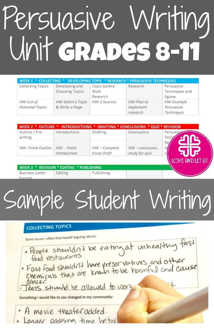 persuasive and argumentative writing unit with lesson plans  sample  lesson plans sample student writing and a student writing packet are  included perfect for the secondary and high school english language arts  classroom
