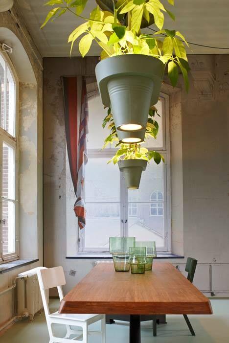 V zapečetěné spodní části květináčů jsou umístěné dvě LED žárovky. Zesílený elektrický kabel je pak použit k zavěšení ke stropu.  Foto: by Rene van der Hulst.