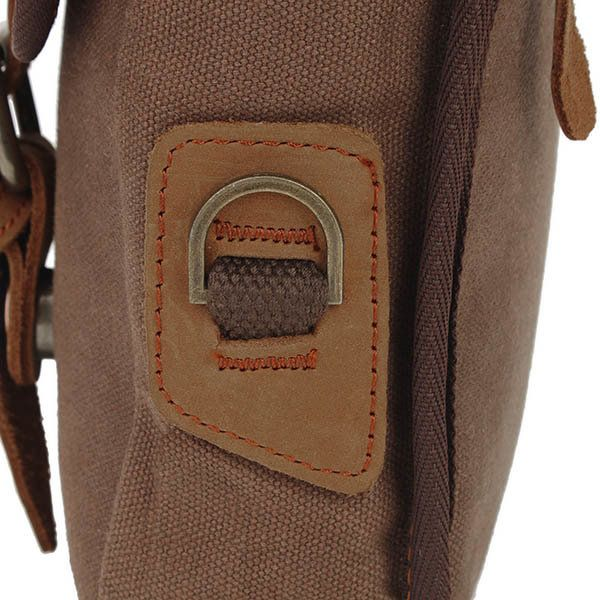 Augur Men's Vintage Leisure Genuine Leather Canvas Messenger Crossbody bag Shoulder Bag