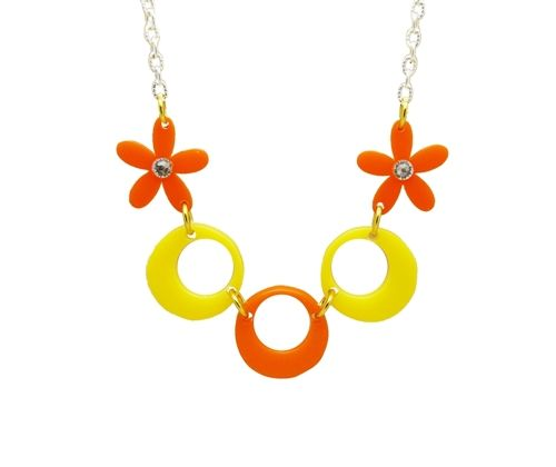 Retro Daisy chain Charm Necklace A Beautiful bright Statement piece Made with Swarovksi & Perspex A Modern Wearable art spin on seventies 70s trend retro With a flourish of Bright Daisies Comes on a Silver plated or Sterling silver Chain Chain length Approximately 16-18 inches Each charm size: (Approximately) 1 inch by 1 inch