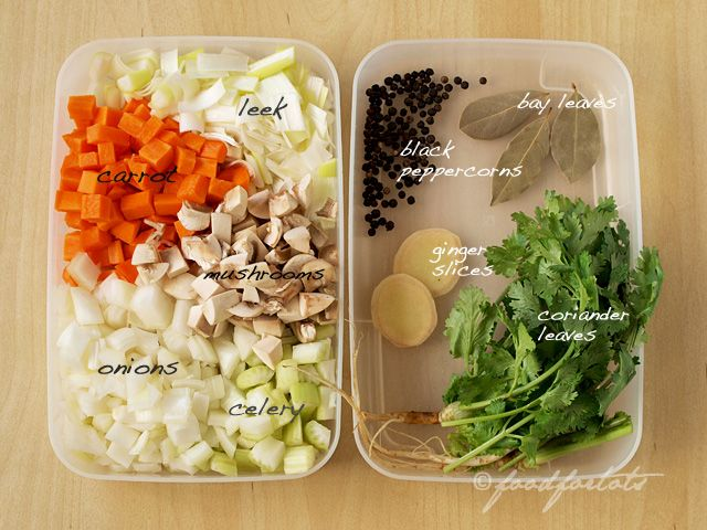 Ingredients for making fish stock.