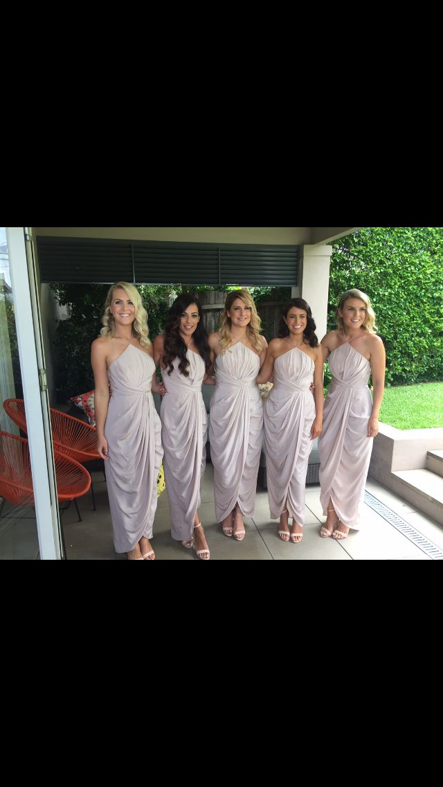 Bridesmaids in blush coloured Zimmerman dresses