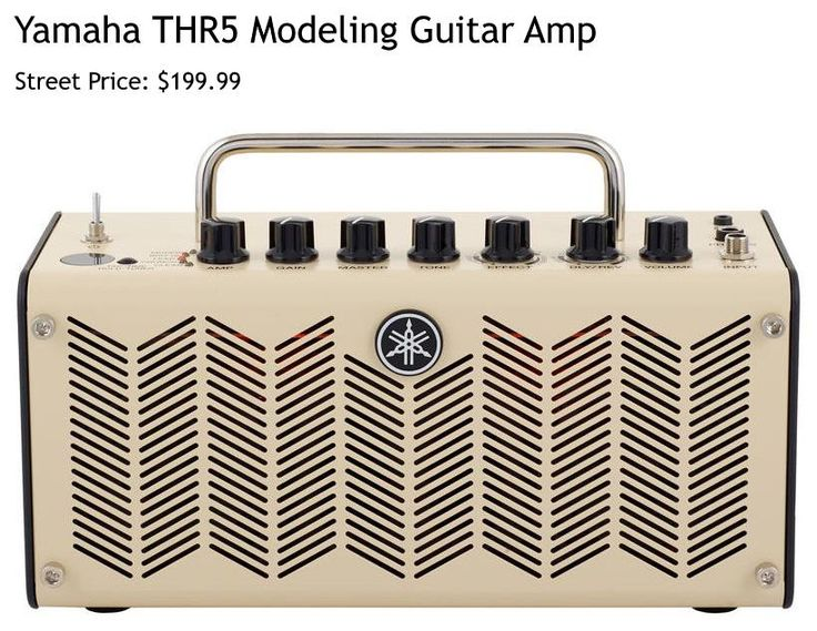 Yamaha THR5 Modeling Guitar Amplifier. This 10-Watt amp comes with 5 amp models, 8 modulation, reverb and delay effects and 24 digital effects.  For a detailed guide to cheap guitar amps see https://www.gearank.com/guides/cheap-guitar-amps