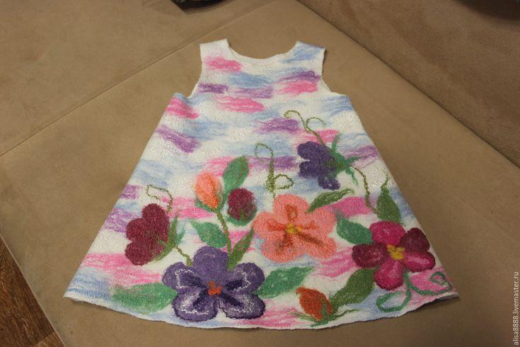 Купить Валяный сарафан (туника) Весна - комбинированный, цветочный, купить подарок, для девочки, нежный подарок