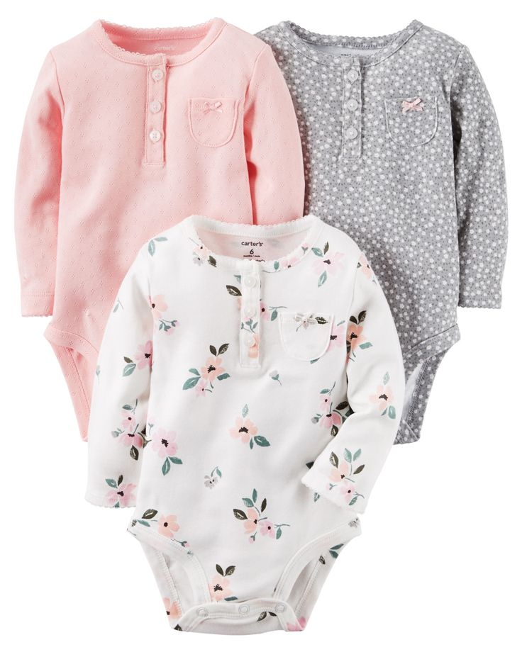 Baby Girl 3-Pack Long-Sleeve Bodysuits | Carters.com